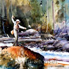 TROUT FISHING Watercolor Print By Dean Crouser. $25.00, via Etsy.
