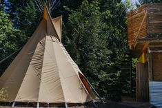 """Teepee Camping in the Columbia River Gorge - Glamping goes to a whole new level at this """"campground"""" that's home to a modern fire pit, luxurious teepee, and an outdoor shower in the woods. - Air Bnb Rental!"""