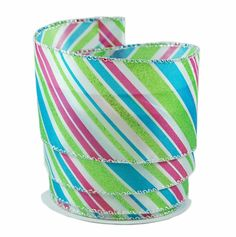 Glitter Stripes White, Blue, Pink and Lime Satin Wired Ribbon 40 - 2.5in x 10 yards >>> Want to know more, click on the image.