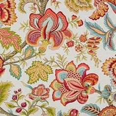 Jacobean Swag Coral Floral Drapery Fabric by Robert Allen - - Fabric By The Yard At Discount Prices Floral Upholstery Fabric, Chintz Fabric, Pillow Fabric, Drapery Fabric, Chair Fabric, Cotton Fabric, Discount Fabric Online, Valance Window Treatments, Window Curtains