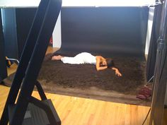 The photoshoot for the book cover.