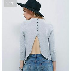 Free People Audrey tee Super cute sexy back button striped bw top Free People Tops Blouses