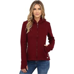 Bench Dearby 11 Short Slim Hoodie Women's Sweatshirt, Brown ($60) ❤ liked on Polyvore featuring tops, hoodies, brown, sweatshirt hoodies, cotton hoodie, red hoodies, full zip hooded sweatshirt and red hoodie