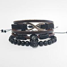 Kit 3 Pulseiras Masculinas Couro Pedras Onix Infinito Caveira Skull mens bracelets moda fashion pulseirismo leather homem style cocar brasil
