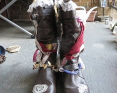 Size 8 reclaimed bohemian gypsy boots, steam punk pirate inspired