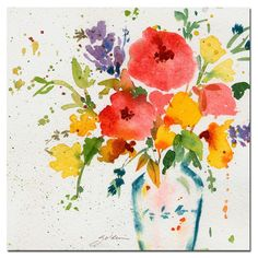 35 in. x 35 in. White Vase with Bright Flowers Canvas Art