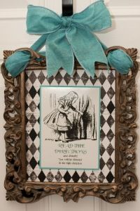 "Alice in Wonderland wall hanging. This is so pretty, and looks like it would be simple to do. Find a print, frame it, string ribbon through the frame, hang. ""A Mad Hatter's Baby Shower"" Tea Party Baby Shower, Baby Shower Themes, Shower Ideas, Bridal Shower, Sundays Child, Mad Hatter Tea, Mad Hatters, Alice In Wonderland Tea Party, Perfume"
