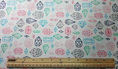 Jewel Outline Fabric, Fat Quarter Only FQ, Diamond Fabric, Cut Jewels, Cut Stones, Gemstones, Diamond Shapes Craft Fabric, Quilting Fabric