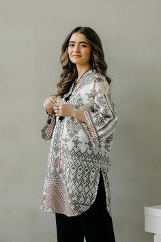 Fusion   Ethnic by Outfitters Pakistani Fashion Casual, Muslim Fashion, Casual Dresses, Short Dresses, Casual Outfits, Fashion Pants, Fashion Outfits, Eastern Dresses, Printed Kurti