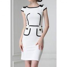 $9.62 Color Block Retro Style Polyester Skinny Short Sleeves Dress For Women