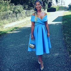Blue Satin off shoulder Homecoming dress