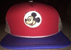 40cdde90448 Vintage Walt Disney Mickey Mouse 3 Color Trucker Mesh Snapback Hat Baseball  Cap