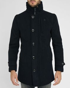 Love this: Navy Standing Collar Wool Garber Trench Coat G Star Raw, Dress Codes, Wool Coat, Mantel, Trench, Chef Jackets, Raincoat, Man Shop, Mens Fashion