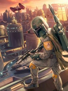 """Professional Bounty Hunter, """"Boba Fett"""", surveys the city of Bespin, AKA: The Cloud City.  He tracked the Millennium Falcon here.  He waits for the arrival of Lord Vader, his employer."""
