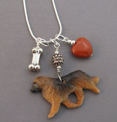 Leonberger Dog Charm Necklace Red Heart Silver Bone