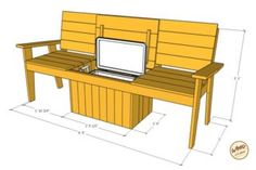 A bench. A cooler. The most amazing Cooler Bench you& ever seen. Check out these free DIY-friendly plans. Deck Cooler, Wood Cooler, Outdoor Cooler, Diy Outdoor Bar, Cooler Cart, Outdoor Pallet, Outdoor Chairs, Pallet Patio Furniture, Outdoor Furniture Plans