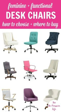 If Youu0027re Planning To Makeover Your Home Office Or Craft Room And Need  Ideas For A Pretty And Comfy Desk Chair, Check This Out! These Feminine Desk  Chairs ...