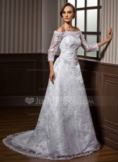 A-Line/Princess Off-the-Shoulder Court Train Beading Zipper Up Strapless 3/4 Sleeves Church General Plus No Winter Spring Summer Fall White Lace Wedding Dress