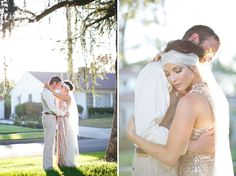 A Great Gatsby Wedding bridal gown: Badgley Mischka