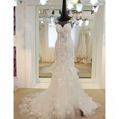 Petite - Plus Size White Beaded Lace Mermaid Wedding Bridal Dresses SKU-117029
