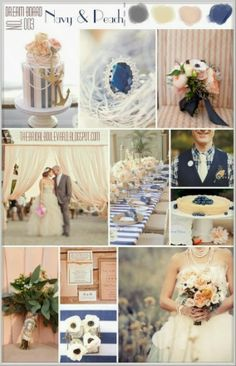 Navy and Peach nautical wedding palette