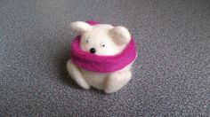 Needle felted polar bear with dark pink scarf by FeltedByRikke, $15.00
