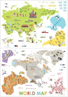 The seven continents world pinterest illustrated maps kids big map of the world kids eco friendly removable wall reusable stickers decals ebay gumiabroncs Gallery