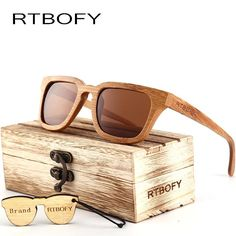 39008c5a607 RTBOFY 2017 Wood Sunglasses Men Square Bamboo Sunglasses Vintage Wood HD  Lens Frame Handmade Sun Glasses