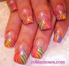rainbow zebra print for spring french manicure nail art nails  www.youtube.com/watch?v=EQGgqUULuwo