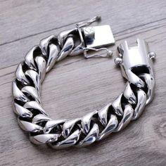 Men's Sterling Silver Heavy Curb Chain Bracelet