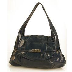 Nannini Blue Patent Leather Flap Top Shoulder Bag Hobo Handbag with Charm