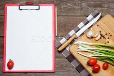 Open blank recipe book on brown wooden background stock photo (c) master1305 (#6613578) | Stockfresh