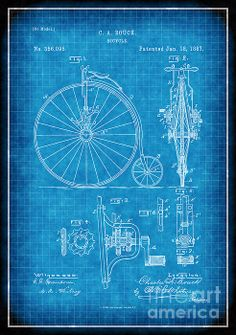 Bicycle Patent Print From 1887 - Patent Art Print - Patent Poster - Bike Print Bike Drawing, Patent Drawing, Canvas Prints, Art Prints, Patent Prints, Blue Backgrounds, Fine Art Paper, Fine Art America, Vibrant Colors