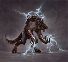 Beornsson in his animal form// An electric lycanthrope Character Portraits, Character Art, Character Design, Character Concept, Cthulhu, High Fantasy, Fantasy Art, Van Helsing Werewolf, Aliens