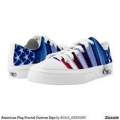 American Flag Fractal Custom Zipz Printed Shoes