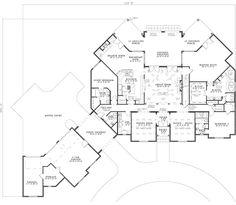 Planes europeos casa de estilo - 6696 pies cuadrados de construcción Home, de 2 pisos, 6 dormitorios y 6 3 cuartos de baño, 3 garaje puestos por planes de vivienda del monstruo - Plan de 12-1120