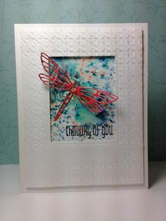 Dragonfly die: Clearly Besotted, brusho, embossing,  by beesmom - Cards and Paper Crafts at Splitcoaststampers