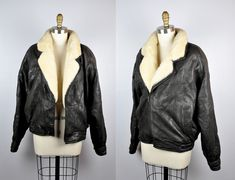 Mens SHEARLING Leather Jacket Lambskin Dark Brown Sheep Wool Collar 90s SOFT Supple Leather Biker Motorcycle Aviator Flying size L by ItaLaVintage on Etsy