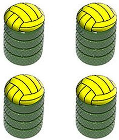 "(4 Count) Cool and Custom ""Diamond Etching Water Polo Ball Top with Easy Grip Texture"" Tire Wheel Rim Air Valve Stem Dust Cap Seal Made of Genuine Anodized Aluminum Metal {Green and Yellow Colors} mySimple Products http://www.amazon.com/dp/B012USZA22/ref=cm_sw_r_pi_dp_hQVEwb046A4TK"