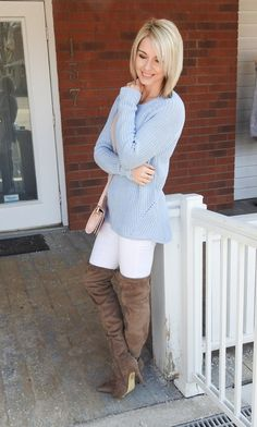 Cute outfit for spring, pastel blue sweater, white jeans, pink bag, suede boots, blogger style