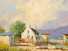 Phillip Britz (SA born 1966) Oil, Arniston Cottages South African Artists, 5th Avenue, Painters, Cottages, Landscapes, Oil, Amazing, Places, Crafts
