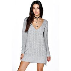 Boohoo Alicia All Over Cable Knit V Neck Jumper Dress ($35) ❤ liked on Polyvore featuring dresses, silver, holiday cocktail dresses, silver camisole, silver evening dresses, evening cocktail dresses and silver bodycon dress