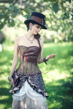 Steampunk with my corset Steampunk Halloween, Steampunk Cosplay, Steampunk Diy, Steampunk Clothing, Steampunk Fashion, Lady Like, Steampunk Couture, Steampunk Design, Victorian Costume