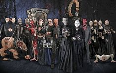 Image: artwork for the Cenobites from Hellraiser (film series) by NECA - N.E.C.A. 1 Siamese Twins 2 Surgeon 3 Stitch 4 Julia 5 Angelique 6 Butterball 7 Chatterer 8 Pinhead 9 Female Cenobite 10 Frank 11 & 12 Wire Twins 13 CD 14 Barbie BG The Doctor (Channard) FL Chatterer Beast FR Torso