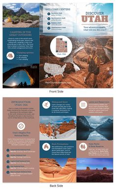 Promote traveling to an iconic state with this visually stunning Utah Travel Brochure Template! It can be fully customized with photos, maps, text, and icons. Browse for more high-quality travel brochure templates on Venngage! Brochure Indesign, Brochure Examples, Travel Brochure Template, Brochure Layout, Free Brochure, Brochure Trifold, Brochure Cover, Travel Brochure Design, Graphic Design Brochure