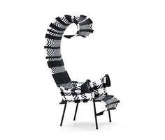 Designed by Tord Boontje Dimensions: 41 x 35 x seat is 12 Materials: Durable nylon cord and tubular steel frame Made in Senegal The Shadowy Chair has a shape that evokes the beach furniture found at the North Sea in Northern Europ Black And White Furniture, Black And White Chair, Black White, Moroso Furniture, Steel Furniture, Furniture Chairs, Outdoor Furniture, Colorful Chairs, Colorful Furniture