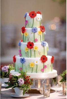 Tartas de boda - Wedding Cake - such a happy and pretty cake! Gorgeous Cakes, Pretty Cakes, Cute Cakes, Amazing Cakes, Bolo Floral, Floral Cake, Fondant Cakes, Cupcake Cakes, Bolo Glamour