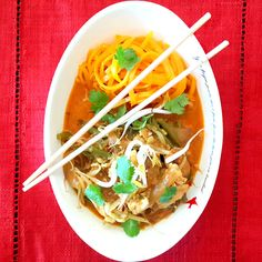 Thai Yellow Chicken Curry with Butternut Noodles - Ilse Nel - The Gourmet Princess Thai Yellow Chicken Curry, Thai Red Curry, Banting, Noodles, Nutrition, Princess, Ethnic Recipes, Food, Gourmet