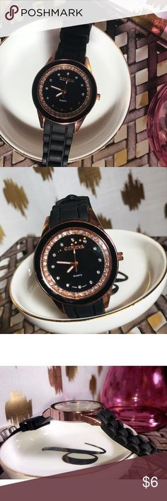 [GENEVA] Rose Gold & Black Watch with Plastic Band Beautiful rose gold and black trendy watch features a soft, silicone band and cubic zirconia accent stones surrounding the face. Geneva Accessories Watches