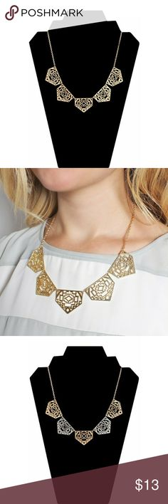 "CUT OUT PENTAGON NECKLACE An open-worked geometric design gives this pentagon necklace a ornate appeal. Color: Gold, Multi Material: Base Metal Closure: Lobster Clasp Measurement: 2"" Extender, 17"" Length, Decor 1.1"" Length x 1.4"" Width Limit exposure to water, perfume or body cream Jewelry Necklaces"